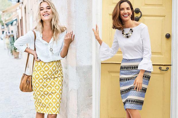Kolorowa spódnica i biała bluzka, fot. www.bodenusa.com, www.talbots.com [pinterest.com]