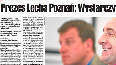 """Wywiad z Karolem Klimczakiem w sobotniej """"Gazecie Wyborczej Poznań"""""""