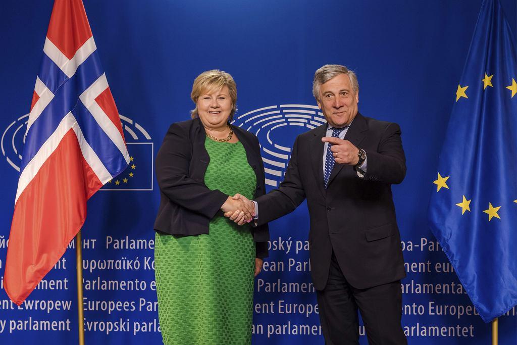 Premier Norwegii Erna Solberg i szef parlamentu europejskiego Antonio Tajani.