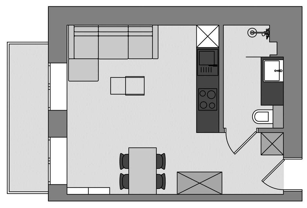 Kawalerka w łódzkiej kamienicy - rzut mieszkania