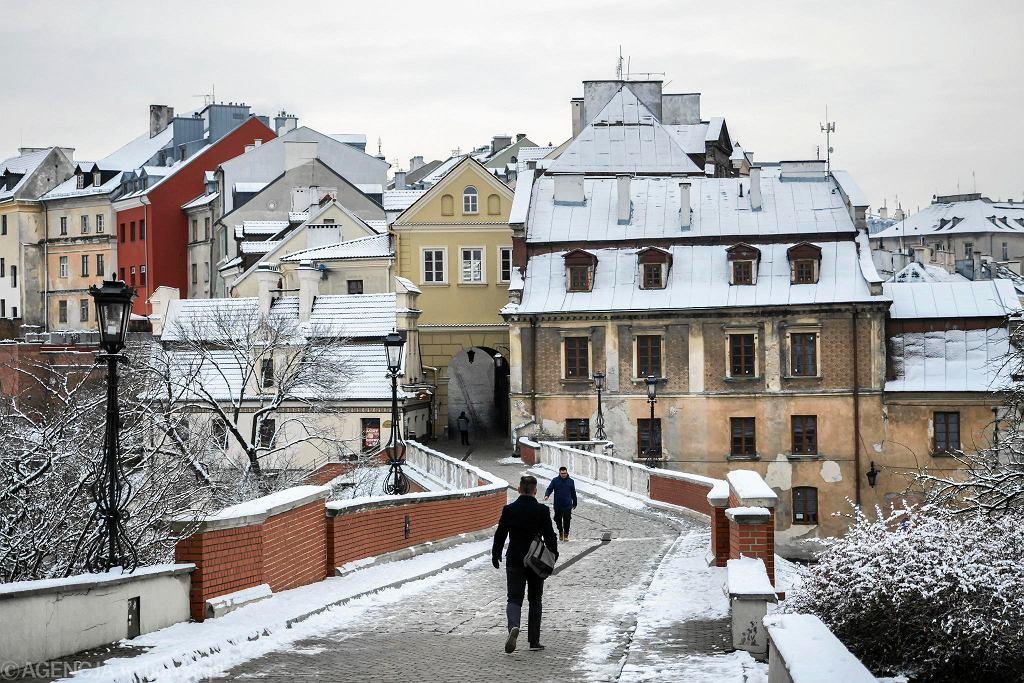 Pierwszy śnieg na ulicach Lublina