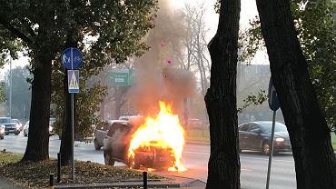Pożar osobówki na Czerniakowskiej