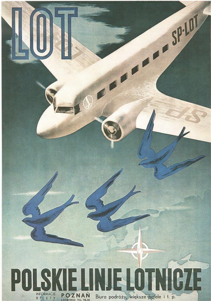Plakat promocyjny LOT-u; Marek Żuławski, Eugeniusz i Kazimierz Koziańscy; 1935 r.