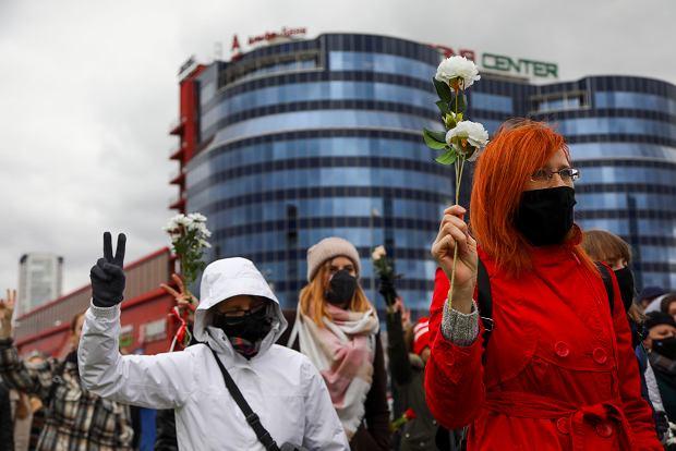 Protesty po sfałszowanych przez Łukaszenkę wyborach prezydenckich. Mińsk, 17 października 2020