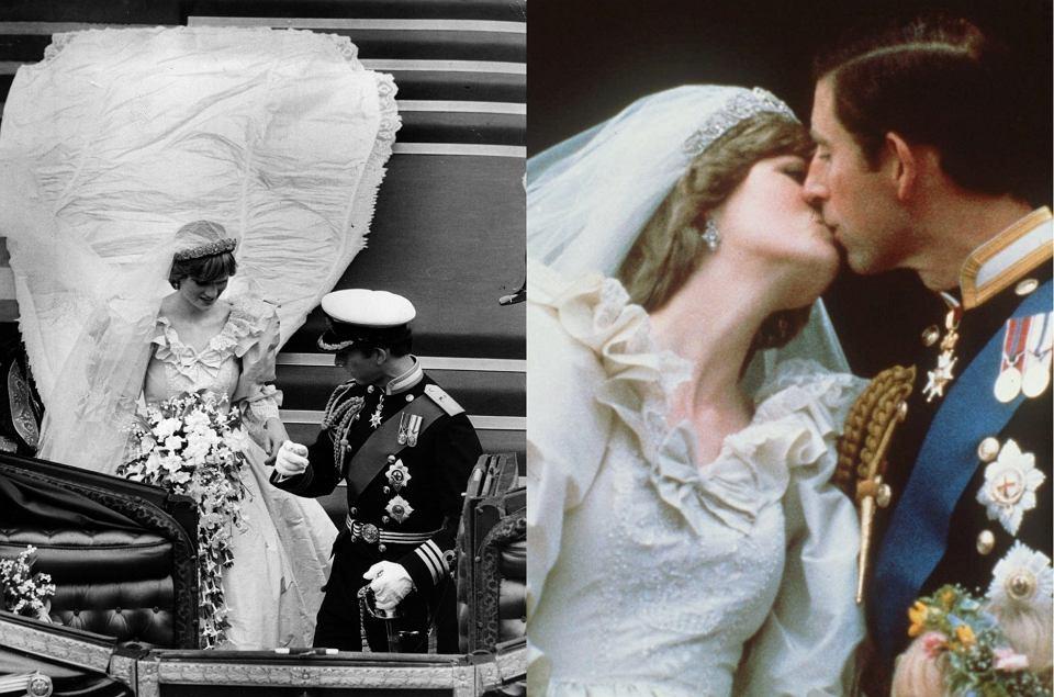 Diana i Karol wzięli ślub 29 lipca 1981 roku. Suknia księżnej Walii na zawsze przeszła do historia jako jedna z najbardziej spektakularnych kreacji. Zużyto na nią ponad 40 metrów jedwabiu, 10 tysięcy pereł i 100 metrów nici. Wykorzystano także wiekowe koronki oraz wszyto na szczęście złotą podkówkę.