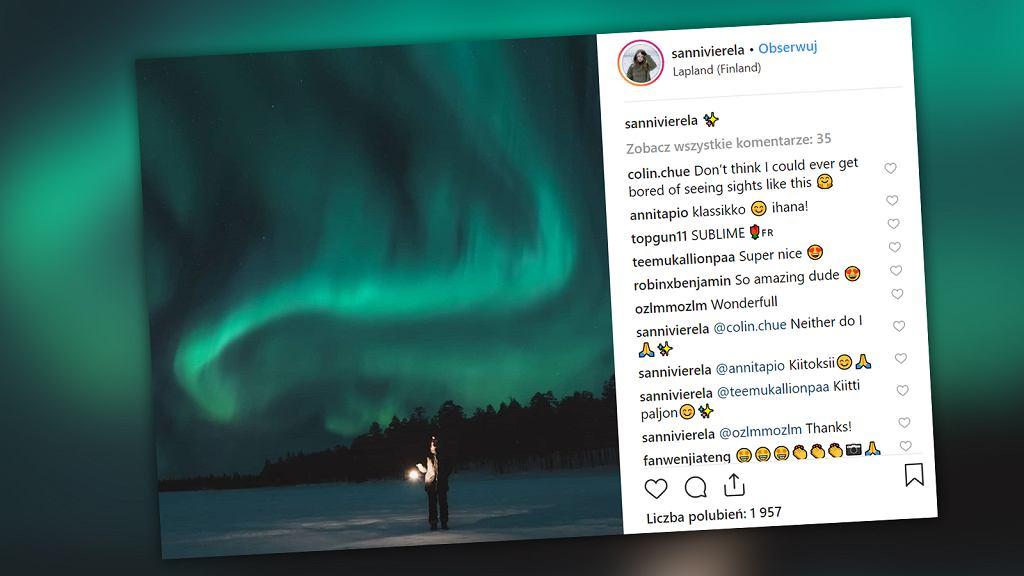 Wyjątkowa zorza polarna w Laponii na terenie Finlandii