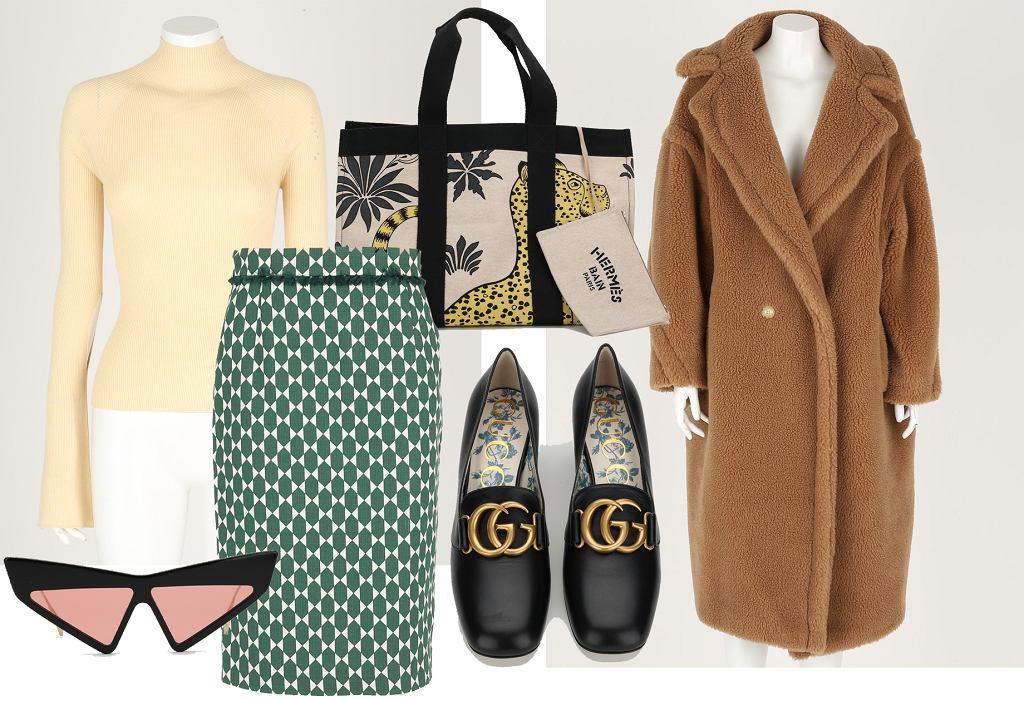 Stylizacja z używanymi ubraniami i dodatkami luksusowych marek. Artykuły pochodzą ze sklepu Pyskaty Zamsz