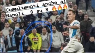 Arkadiusz Milik w meczu Olympique Marsylia - FC Lorient. Post Polaka nawiązujący do SSC Napoli. Źródło: https://twitter.com/FodboldForLife/status/1450227893179752450/photo/1