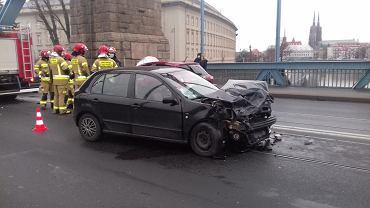 Wypadek na moście Grunwaldzkim - 28.01.2021