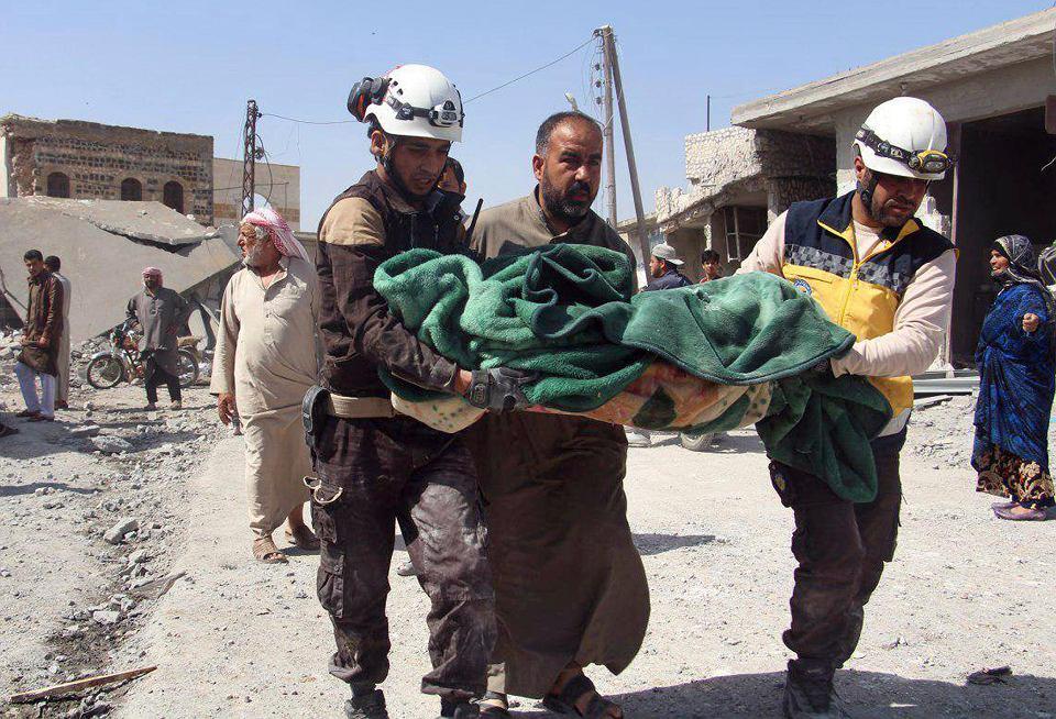 Miasteczko Ras el-Ain w syryjskiej prowincji Idlib po bombardowaniu, 7 maja 2019.