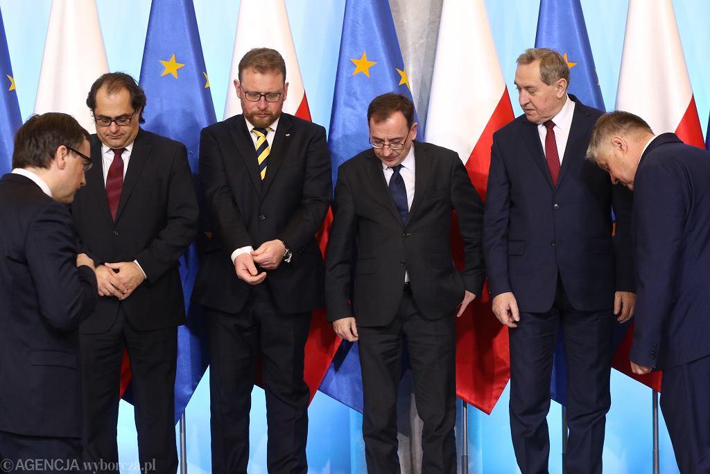 Na zdjęciu m.in.: Zbigniew Ziobro, Łukasz Szumowski i Mariusz Kamiński