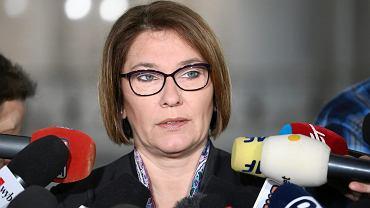 Rzecznik prasowy partii Prawo i Sprawiedliwosc oraz Klubu Parlamentarnego PiS Beata Mazurek