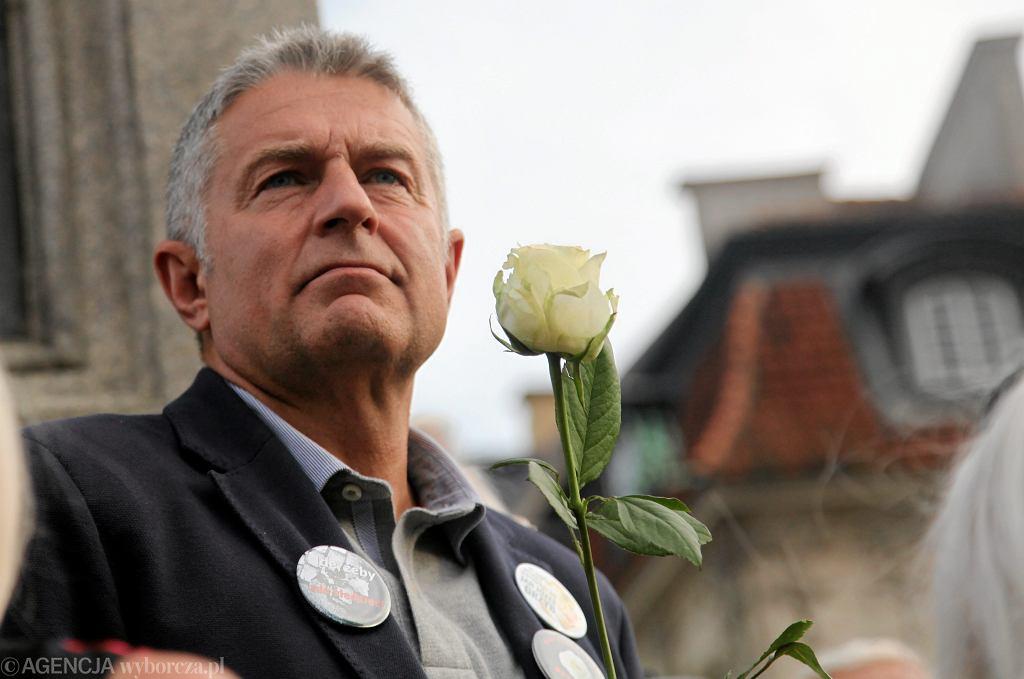 Władysław Frasyniuk na kontrmanifestacji 10 lipca 2017 roku