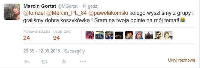 Marcin Gortat odpowiada kibicowi na Twitterze