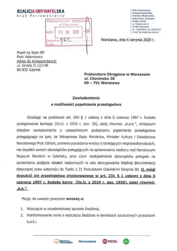 Zawiadomienie do prokuratury przeciwko Piotrowi Glińskiemu