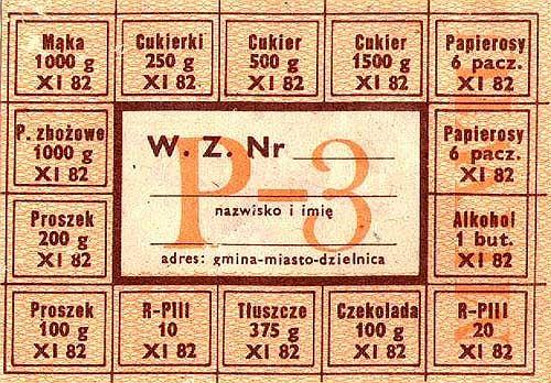 Kartka żywnościowa z PRL