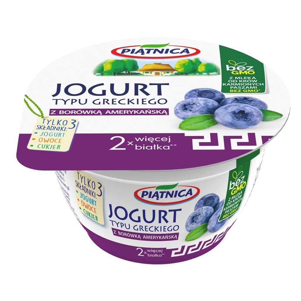 Owocowy jogurt typu greckiego o smaku borówki amerykańskiej