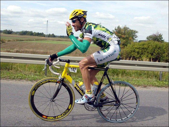 Cezary Zamana i jego zwycięska Merida z Tour de Pologne 2003