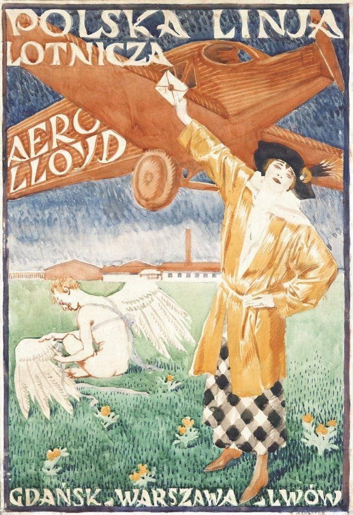 Plakat promocyjny LOT-u; Józef Mehoffer, 1923-1924