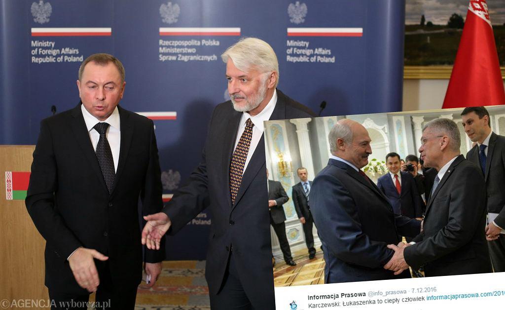 Ministrowie spraw zagranicznych Białorusi Uladimir Makiej i Polski Witold Waszczykowski; marszałek Senatu Stanisław Karczewski i prezydent Białorusi Aleksandr Łukaszenka