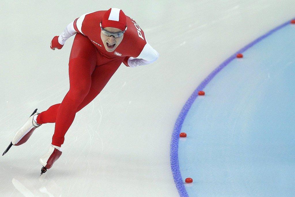 Jan Szymański podczas wyścigu na 5000 m podczas Igrzysk Olimpijskich w Soczi
