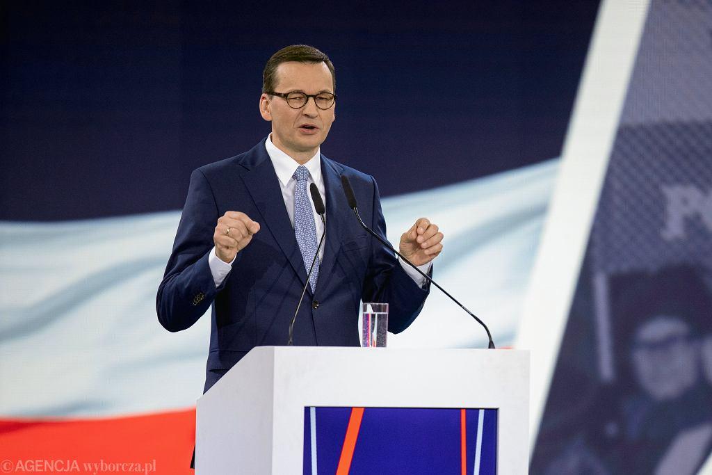 Premier Mateusz Morawiecki podczas konwencji Prawa i Sprawiedliwości w Warszawie, 23.02.2019.