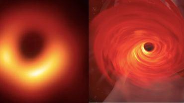 Po lewej: pierwsze zdjęcie czarnej dziury w galaktyce M87. Po prawej: tak sobie tą dziurę wyobrażaliśmy zanim zdjęcie zostało zrobione (symulacja komputerowa zespołu Jordy Davelaara)