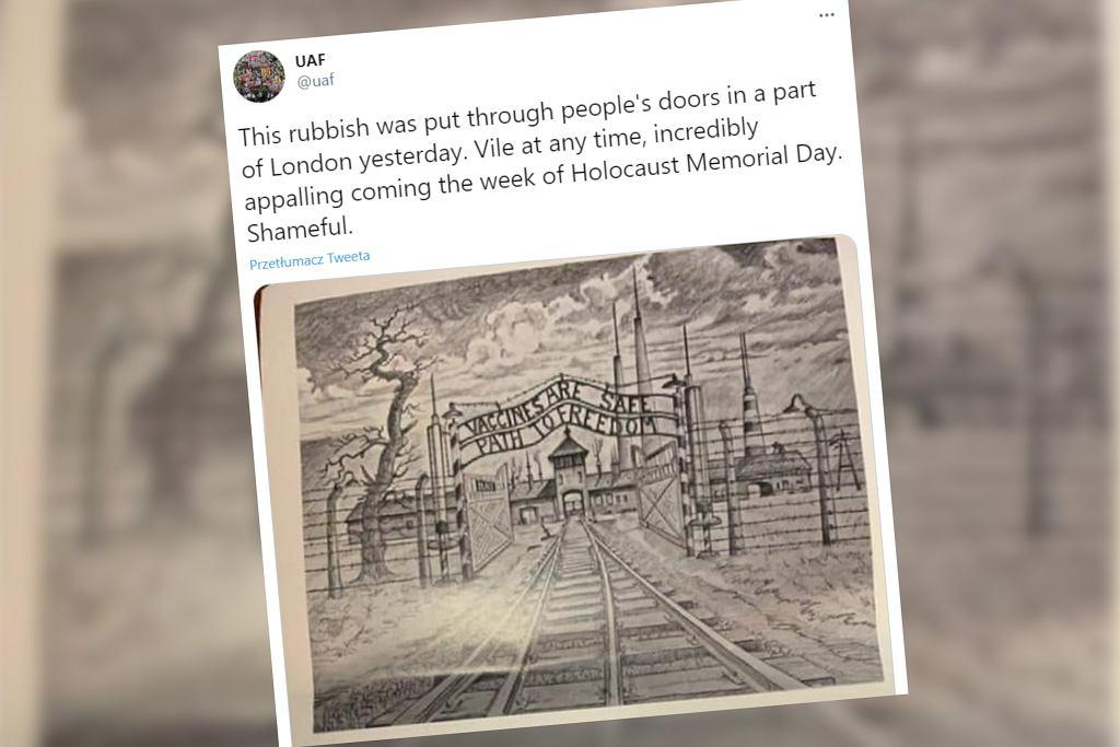 Wielka Brytania. Antyszczepionkowe ulotki z grafiką obozu Auschwitz. Sprawę bada policja