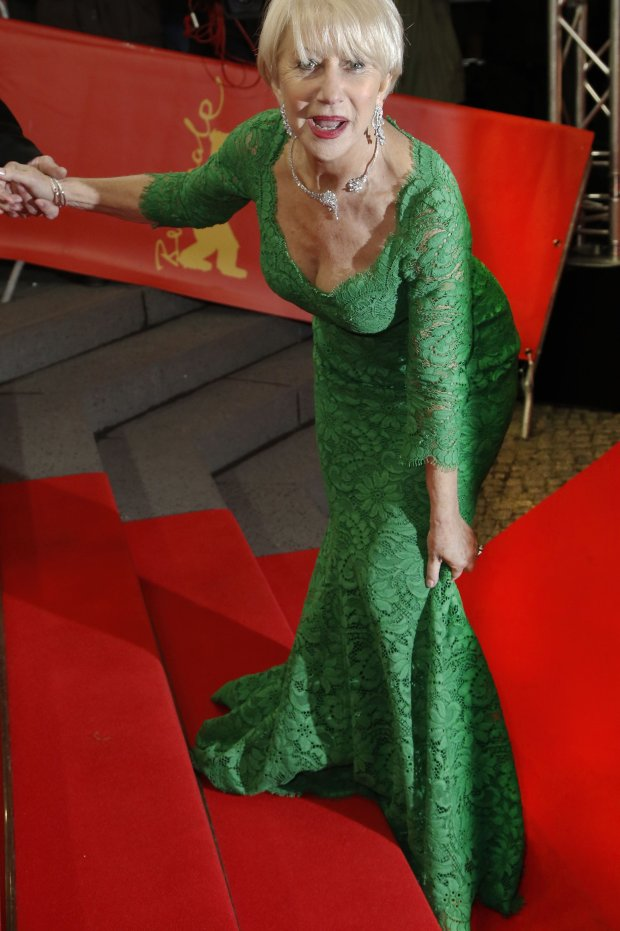 Dame Helen Mirren tripping on the steps during the premiere of  Woman in Gold at the Berlin Film Festival. 09/02/2015.