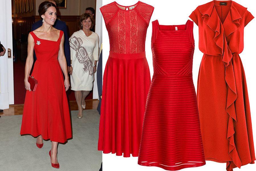 Czerwona sukienka księżnej Kate
