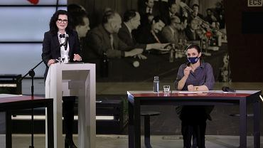 Aleksandra Dulkiewicz i Monika Chabior, podczas debaty w ECS z okazji Dnia Kobiet 8 marca 2021