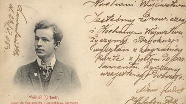 Pocztówka z Wojciechem Korfantym, kampania wyborcza 1903 r.