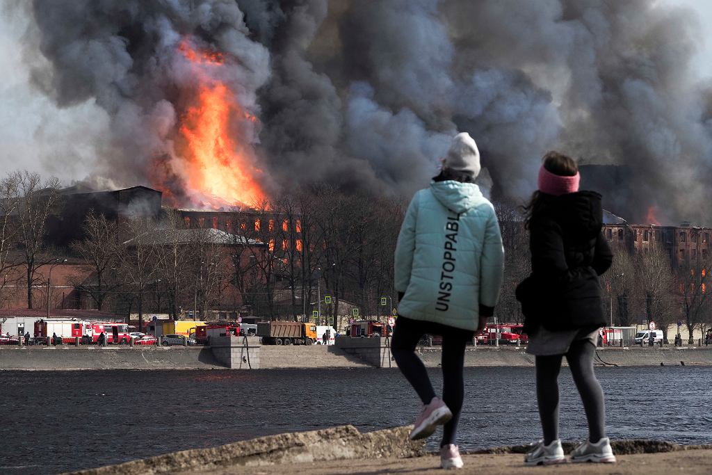 Pożar Newskiej Manufaktury w Petersburgu