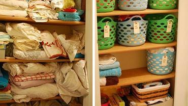 Ręczniki i prześcieradła można posegregować w zależności od rodzaju, koloru lub okazji i umieścić w dużych plastikowych kolorowych koszach. Aby ułatwić odszukanie danego przedmiotu do każdego kosza można przyczepić karteczkę z opisem jego zawartości.
