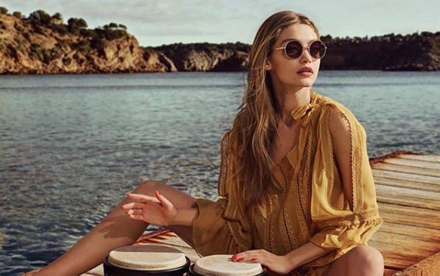 Modelka Gigi Hadid w okularach przeciwsłonecznych - lenonkach,