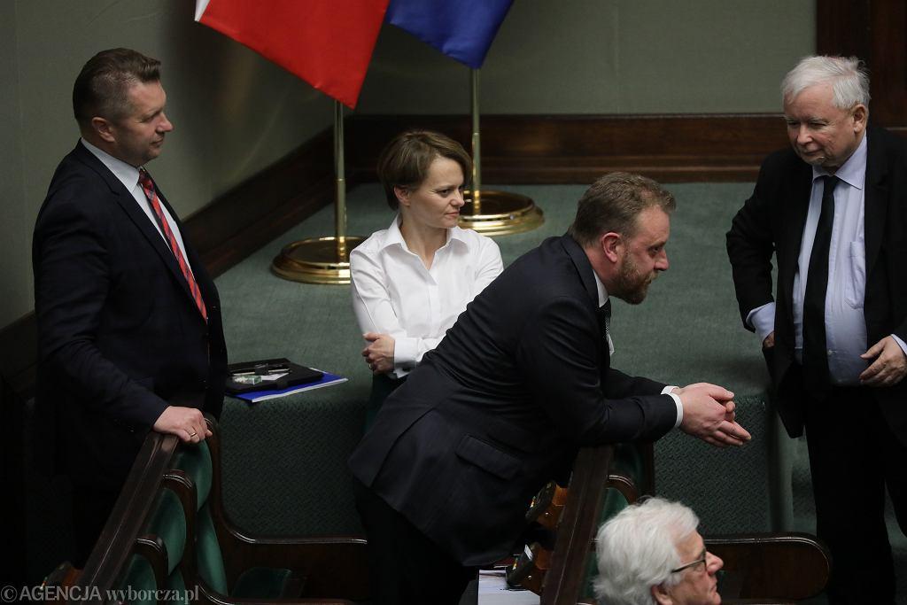 4.06.2020, Sejm, debata nad odwołaniem Łukasza Szumowskiego, na zdjęciu od lewej: Przemysław Czarnek , Jadwiga Emilewicz , Łukasz Szumowski i Jarosław Kaczyński