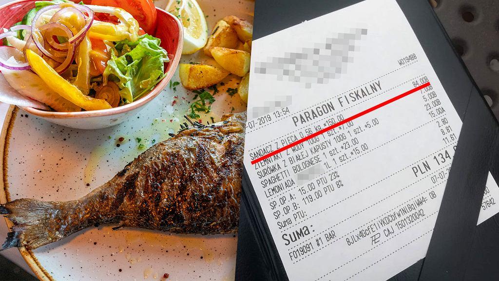 Czytelniczka nadesłała do nas zdjęcie paragonu z ceną, którą zapłaciła za porcję ryby w jednej z restauracji w Krynicy Morskiej