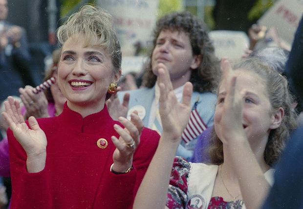 1Hillary Rodham Clinton, wife of Democratic presidential hopeful Gov. Bill Clinton of Arkansas, and their daughter Chelsea applaud as the governor announces his intention to run for president, Oct. 3, 1991 in Little Rock.  Roger Clinton, Gov. Clintons brother, is in the background. (AP Photo/Wesley Hitt)