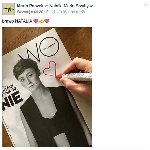 Wpis Marii Peszek na Facebooku