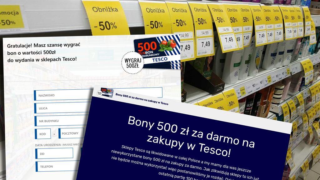 W sieci można znaleźć ofertę bonów do Tesco. Sieć nie ma nic wspólnego z tym konkursem