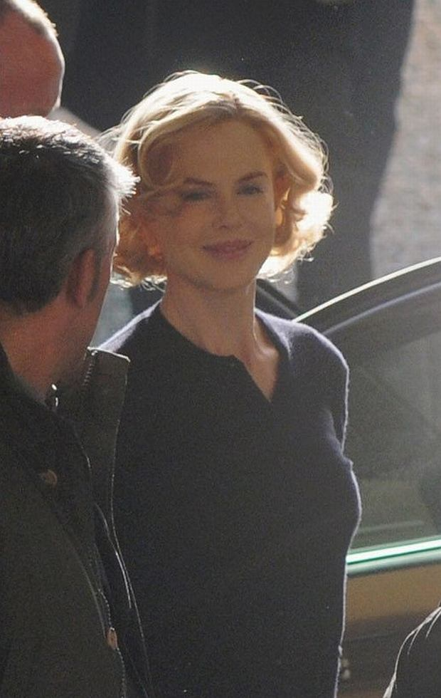In this photo taken on Thursday, Nov. 15, and made available Friday, Nov. 16, 2012, actress Nicole Kidman is seen in Genoa, Italy, where she is shooting a movie on the life of Grace of Monaco. Nicole Kidman will portray Grace Kelly, Princess of Monaco. (AP Photo/Lapresse) ITALY OUT