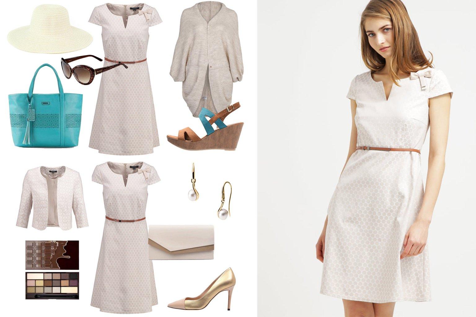 dodatki do beżowej sukienki na wesele