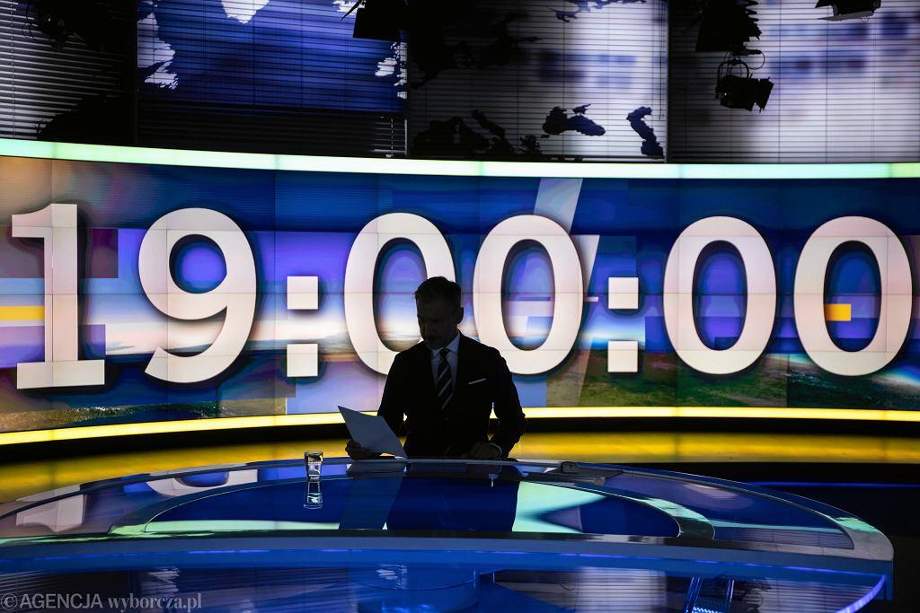 Studio TVN24 podczas programu Fakty