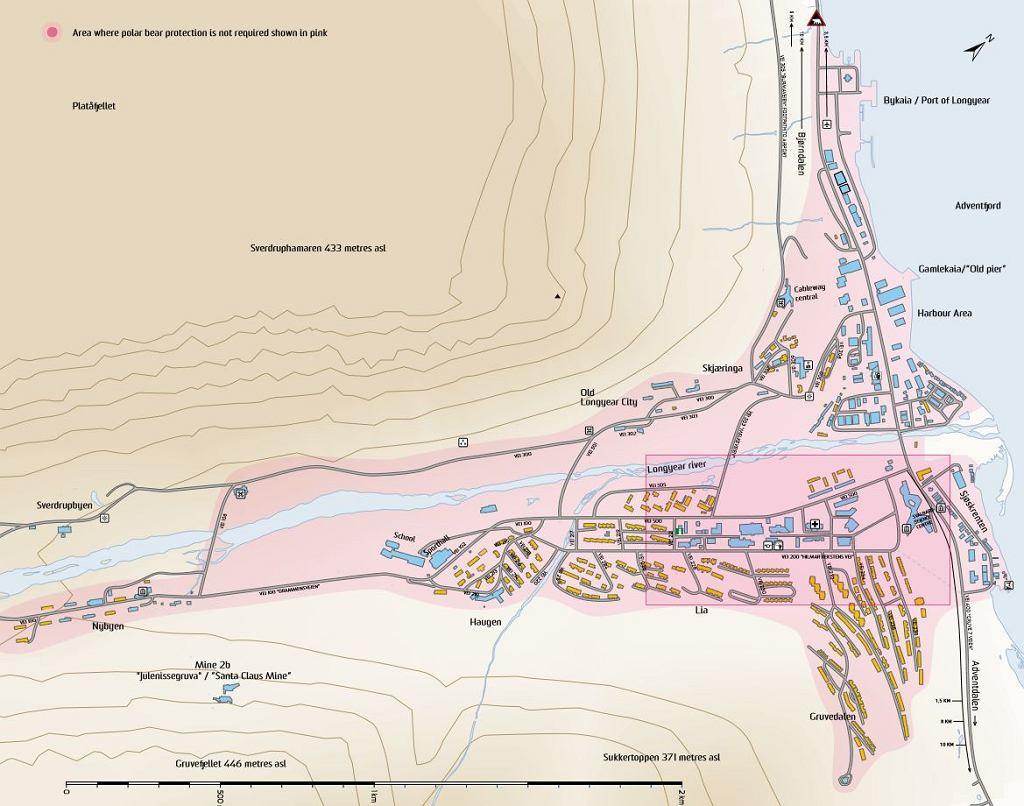 Mapa Longyearbyen z zaznaczoną na różowo strefą bezpieczną, w której noszenie broni dla ochrony przed niedźwiedziami nie jest wymagane.
