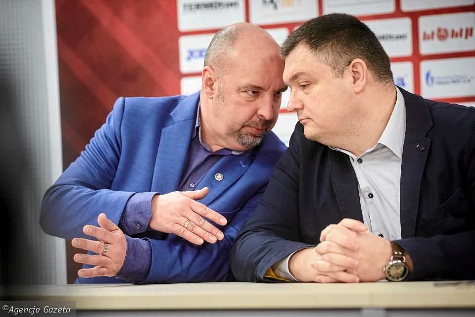 Remigiusz Brzeziński, prezes Widzewa (z prawej) i Marcin Tarociński