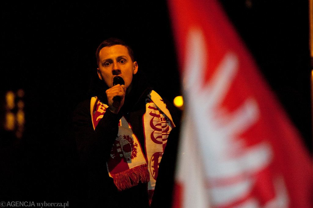 Jacek Międlar podczas marszu narodowców, Wrocław 11.11.2019.
