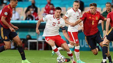 Robert Lewandowski podczas meczu Polski z Hiszpanią na Euro 2020