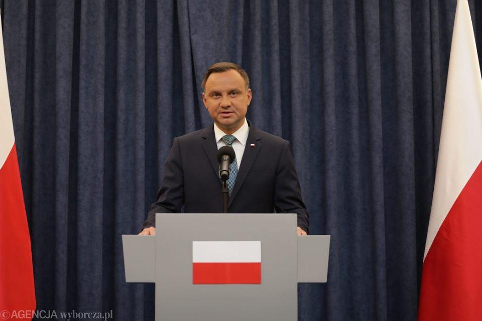 Prezydent Andrzej Duda wetuje ustawy o SN i KRS, 24 lipca 2017.