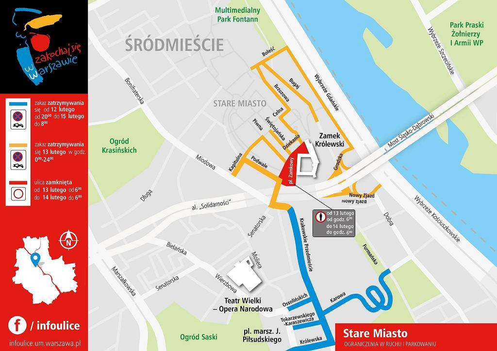 Zakazy parkowania w Warszawie w dniach 13-14 lutego