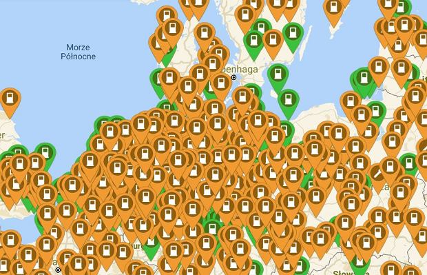 Mapa stacji ładowania samochodów elektrycznych w styczniu 2019 r.